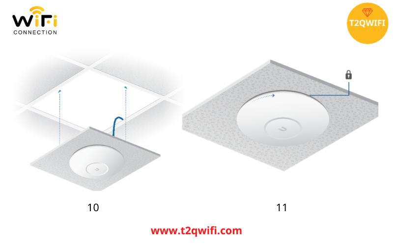 Hoàn thành lắp đặt thiết bị phát sóng wifi WiFi UniFi UAP-AC-Pro trần nhà