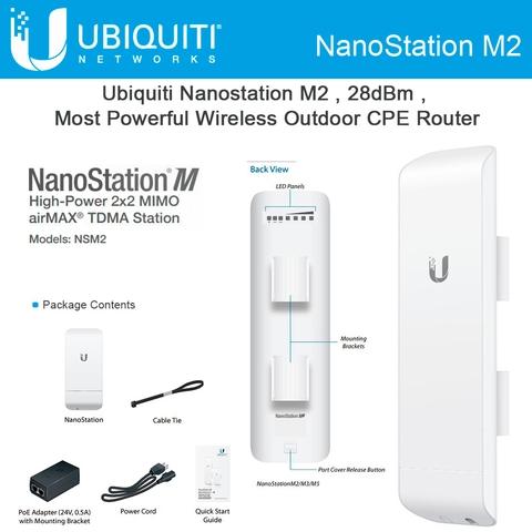 Thiết bị truyền dẫn không dây thông minh Ubiquiti AirMax NanoStationM2