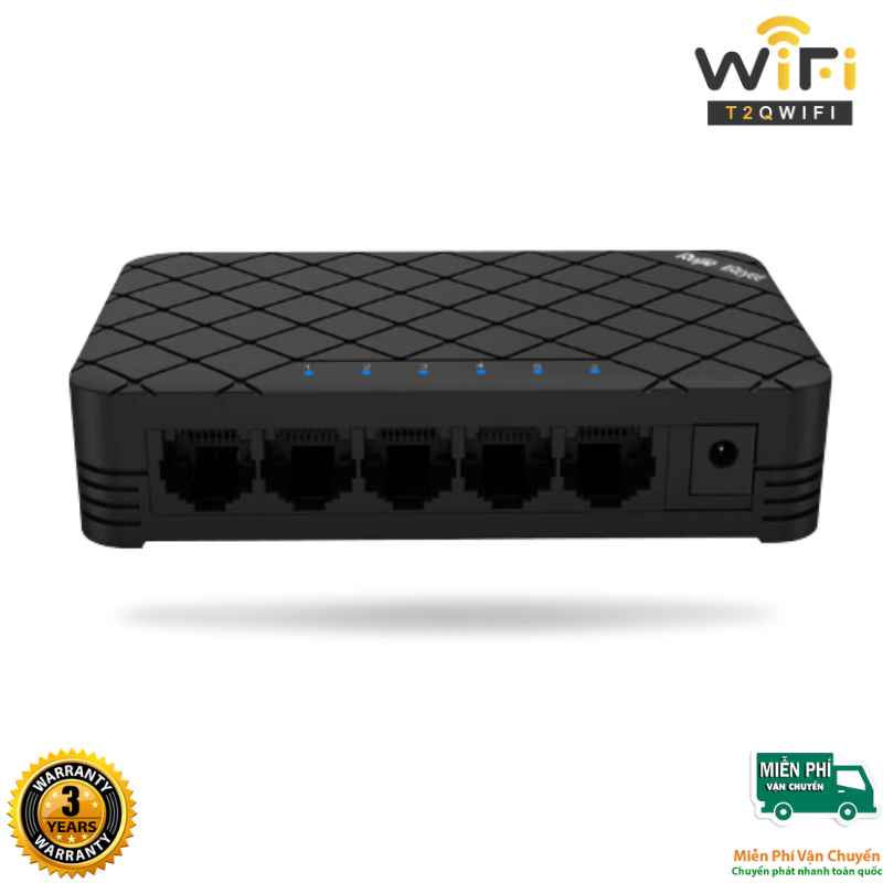 Thiết bị mạng Switch Ruijie RG-ES105GD 5-Port Gigabit Unmanaged Switch, 5 Gigabit RJ45 Ports, vỏ kim loại