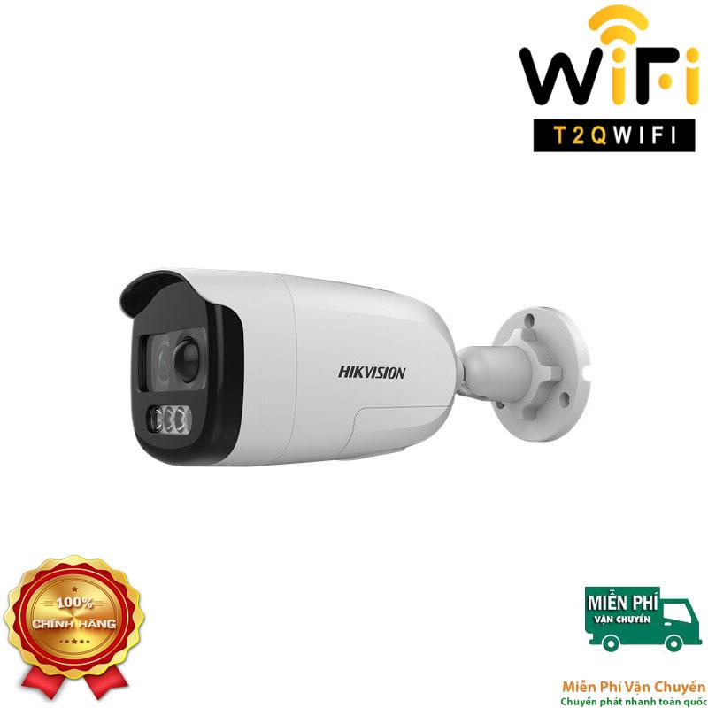 Camera HD-TVI Thân COLORVU 2MP HIKVISION DS-2CE12DFT-PIRXOF CÓ MÀU 24/24 - tích hợp đèn+còi báo động