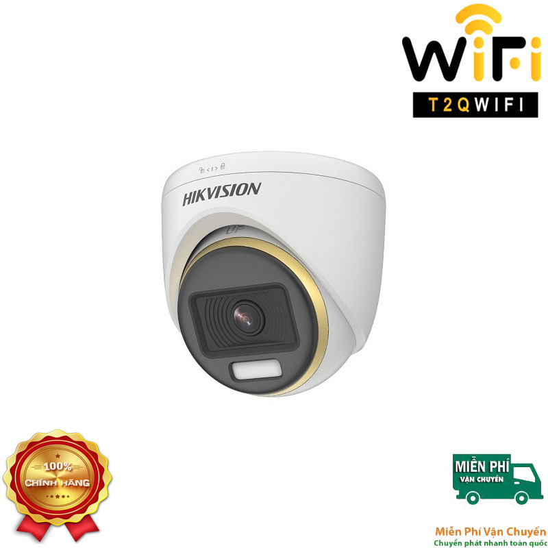 Camera HD-TVI Dome COLORVU 2MP HIKVISION DS-2CE70DF3T-PF CÓ MÀU 24/24
