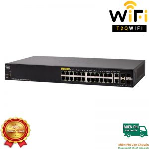 CISCO SF350-24P-K9-EU, 24-port 10/100 POE Managed Switch+2 cổng 10/100/1000+2 cổng combo Gigabit SFP