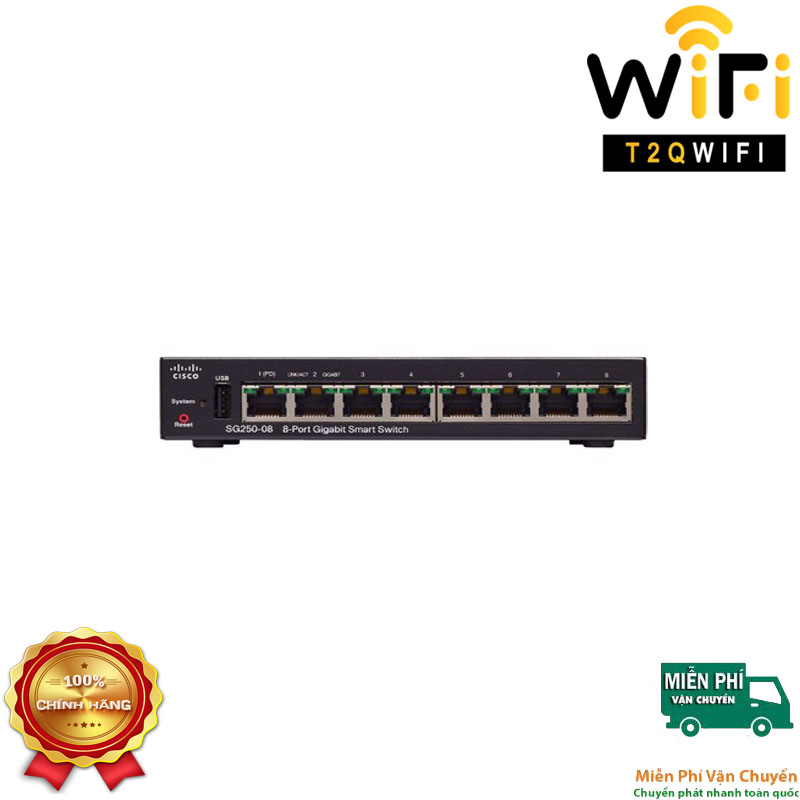 CISCO SG250-08-K9-EU, 8-ports Gigabit (Port 8 with PoE+ power input support) Smart Switch