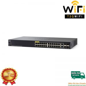 CISCO SF350-28P-K9-EU, 24-port PoE+ Gigabit with 195W power budget+2 Gigabit copper/SFP combo+2 SFP ports Managed Switch