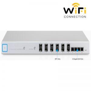 Thiết bị mạng Ubiquiti UniFi Switch US-16XG, 12 Cổng quang 1G/10G SFP+ 4 Cổng mạng RJ45 1G/10G + 1 Cổng Serial Console