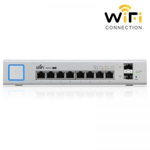 Thiết bị mạng Ubiquiti UniFi Switch US-8-150W, PoE + 8 Cổng mạng tốc độ 1G + 2 Cổng quang SFP